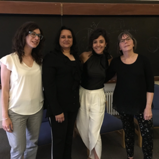 At the University of Cambridge: Institute of Astronomy (Palla, Rajani, Halabi and Millsapps after panel discussion), Wolfson College (Halabi and Millsapps during Q&A after film screening)